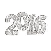 Happy New Year 2016 celebration number. Vector Xmas illustration in zentangle Stock Illustration
