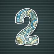 Zentangle number. Vector decorative number. - stock illustration