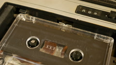 Old retro compact cassette vintage audio recorder Stock Footage