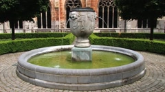 Fountain at the inner yard in Saint Servatius church in Maastricht, Netherlands. Stock Footage