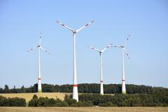 Alternative enegy creation with wind power - stock photo