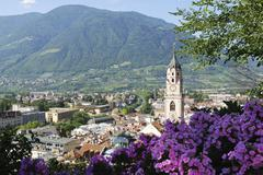 St. Nilolaus church in  Meran in South Tyrol (Italy) - stock photo
