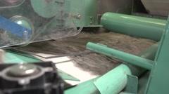 Flax fibers move by conveyor belt.MTS Stock Footage
