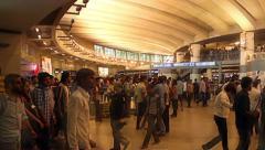 Delhi metro interchange. Passengers walk past going to various destinations Stock Footage