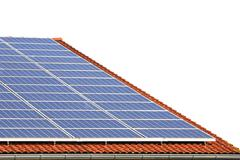 Alternative energy with photovoltaic panels on the roof Stock Photos