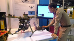 Military Spy Copter Scout Drone on Scientific and Technical Exhibition Stock Footage