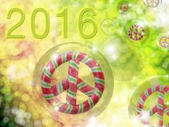 Candy peace signs in bubbles for 2016 - stock illustration