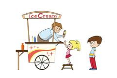 Little girl is looking forward to an ice cream - stock illustration
