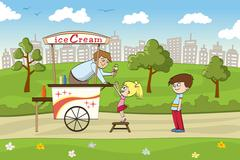 Little girl is looking forward to an ice cream Stock Illustration