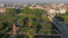 View over bridge,river,park and city,Battambang,Cambodia Stock Footage