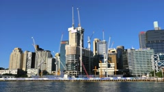 Barangaroo construction site, Darling Harbour, Sydney in 4k Stock Footage