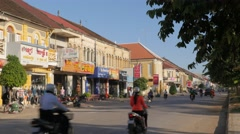 Stock Video Footage of French colonial riverfront houses,Battambang,Cambodia