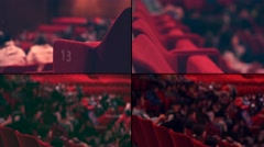 Audience Cinema theater,4K collage multi screen Stock Footage