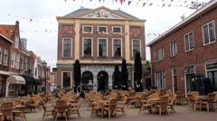 View to the central square of the medieval town of Brielle, Netherlands. Stock Footage