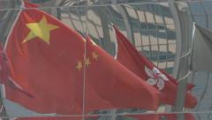 Flags Reflection of Hong Kong and China. Cinelike D flat picture profile. Stock Footage