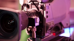 The rotating parts of a professional television lens a close-up shot Stock Footage