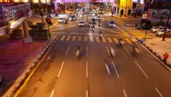 City junction traffic at night time, vehicles rush across, timelapse shot. Stock Footage