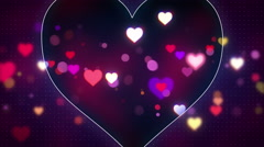 glowing heart shapes loopable love background 4k (4096x2304) - stock footage