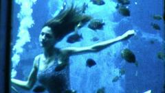 Girls Swim Ballet Underwater Mermaids 1960s Vintage Retro Film Home Movie 8973 Stock Footage