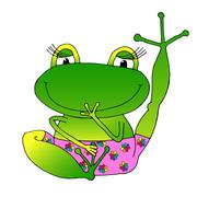 vector image cheerful green frog in pink panties. - stock illustration