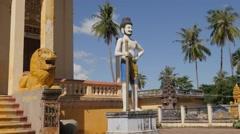 Statue at entrance wat Sanker,Battambang,Cambodia Stock Footage