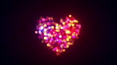 Colorful bokeh lights heart shape loopable animation 4k (4096x2304) Stock Footage