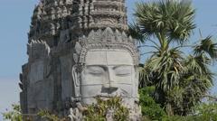 Detail khmer gate to Wat Sanker,Battambang,Cambodia Stock Footage
