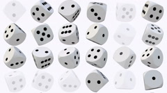 Rotating dice in white on white - stock footage