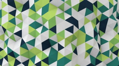 White and green 3D render polygonal surface moving seamless loop Stock Footage