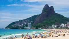 Stock Video Footage of Timelapse View of Ipanema Beach in Rio de Janeiro, Brazil