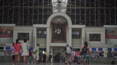 Passengers at Bangkok railroad station - stock footage