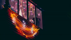 Many colorful christmas garland lights moving Stock Footage