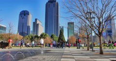 A sunny afternoon at Klyde Warren Park  at Christmas time Stock Footage