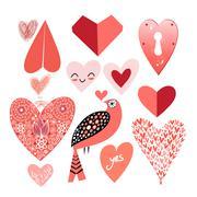 Stock Illustration of Graphic heart set