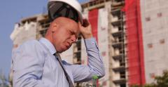 Architect Engineer Drink Water Inspecting Construction Site Building Industry Stock Footage