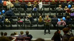 Spectators in the Sibur Arena during intermission. Time lapse - stock footage