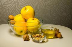 Jewish Holiday Rosh Hashanah (New Year) Celebration with Honey and Apples Stock Photos