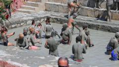 People are taking a mud bath. Turkey Stock Footage