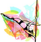 Pole dance woman illustration Piirros