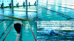 Swimming Pool Race,4K collage multi screen Stock Footage