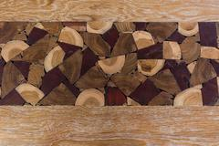 Texture and pattern of decorated log - stock photo
