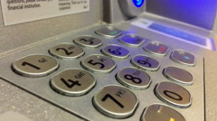 Numerical pin entry pad at ATM 4k Stock Footage