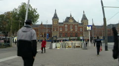 Central Station in Amsterdam the Netherlands at twilight time lapse Stock Footage