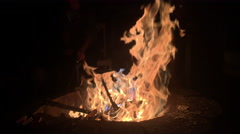 Camp fire burning in backyard pit 4k Stock Footage