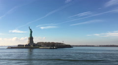 Liberty Island seen from boat tour coming from NYC 4k Stock Footage