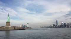 New York and New Jersey in background of Statue of Liberty 4k Stock Footage