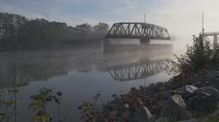 Fraser River Railbridge Mist 4K Stock Footage