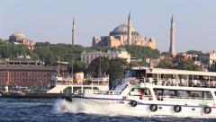 Historic architecture and Muslim Mosque the Golden Horn bay in Istanbul, Turkey. Stock Footage
