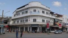 Intersection at riverfront,Battambang,Cambodia Stock Footage