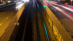 Time Lapse of Car and Train Traffic in Paris - Le Defense  -  Paris France Stock Footage